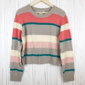 Cotton Emporium Multi Stripe Crop Sweater